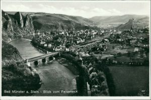 Bad Münster am Stein-Ebernburg Panorama-Ansicht mit Blick vom Felseneck 1932