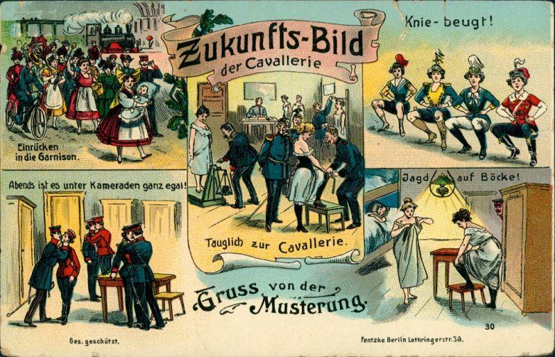 Ansichtskarte  Scherzkarte, Zukunftsbild der Kavallerie, Musterung 1907