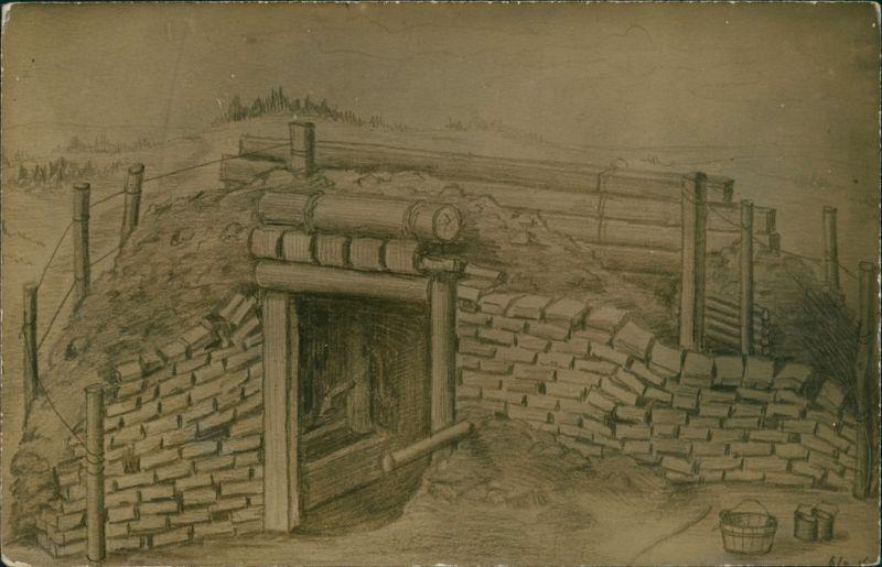 Ansichtskarte  Künstlerkarte Schützengraben Befestigung Eingang 1916
