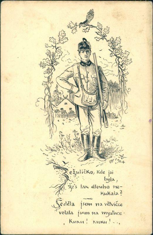 Ansichtskarte  Jäger Kuckuck Künstlerkarte 1904