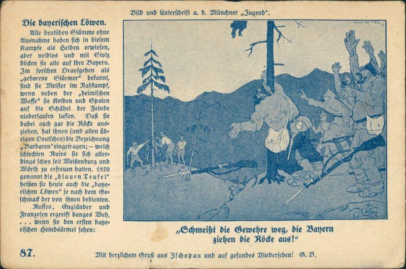 Die bayrischen Löwen ziehen Röcke aus: Russen schmeißen Gewehre weg 1915