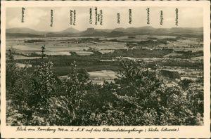 Schönfeld - Weißig-Dresden Borsberg - auf das Elbsandsteingebirge 1934