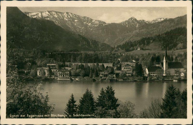 Egern am Tegernsee Uferbereich mit Blauberge u. Schildenstein 1940