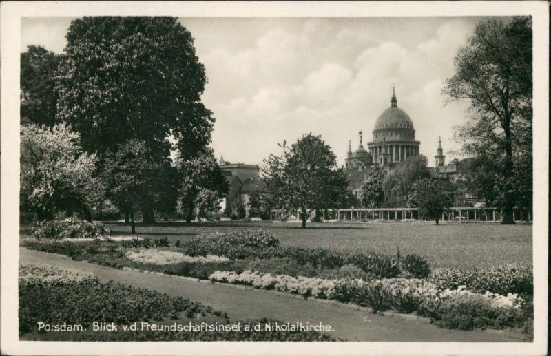 Potsdam Blick von der Freundschaftsinsel auf die Nikolaikirche 1932