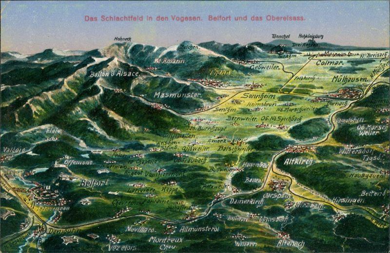 Frankreich Vogesen Belfort Oberelsass Landkarte Altkirch