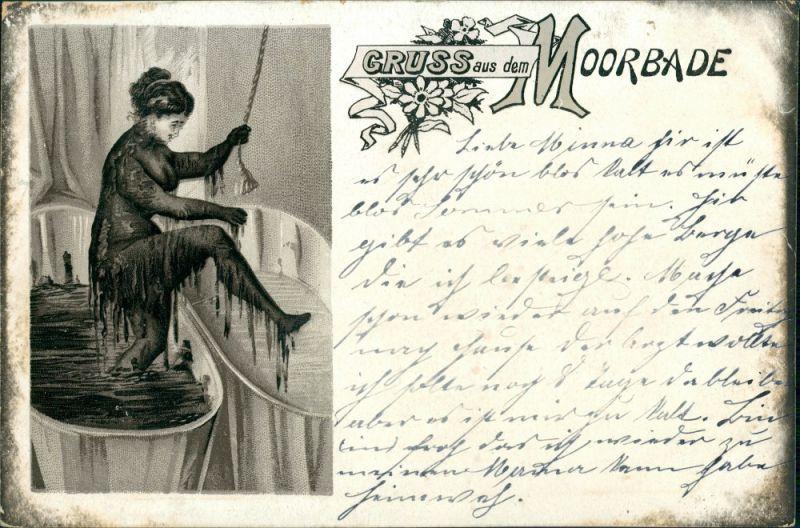 Ansichtskarte Litho AK Sherzkarte - Frau - Moorbad 1908