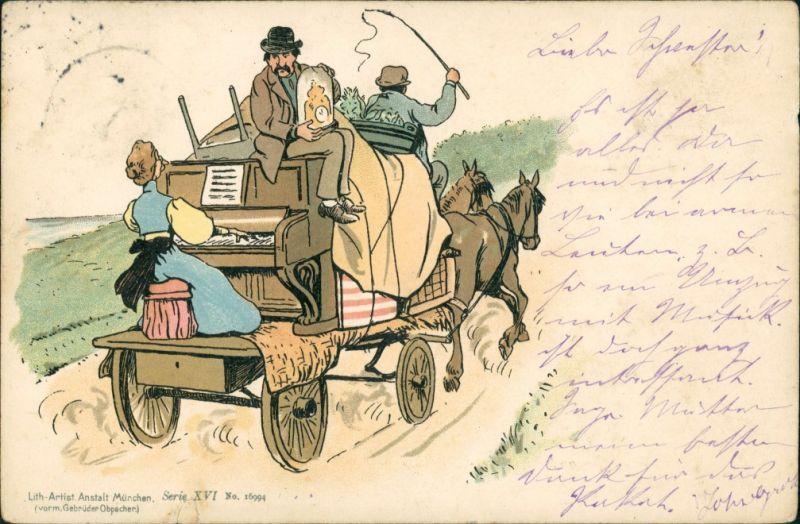 Ansichtskarte  Scherzkarten - Wir ziehen um 1898