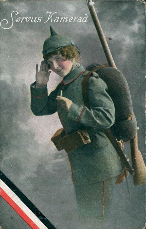 Ansichtskarte  Militär Scherzkarten - Servus Kamerad Fräulein Feldgrau  1916