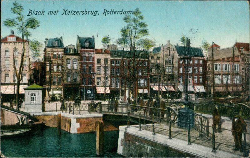 Postkaart Rotterdam Rotterdam Blaak met Kaizersburg 1909