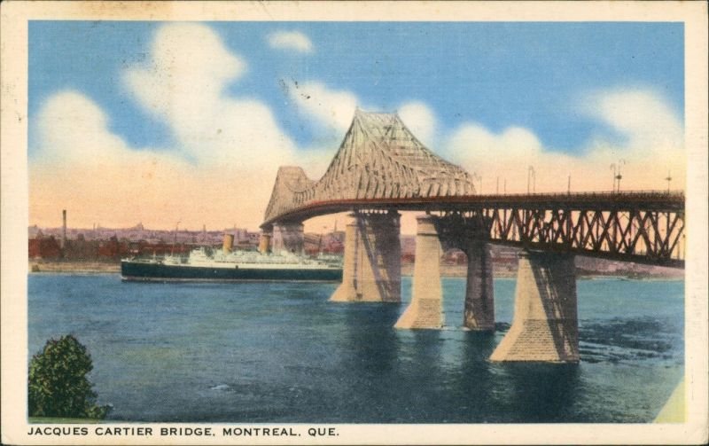 Postcard Montreal Jacques Cartier Bridge 1939