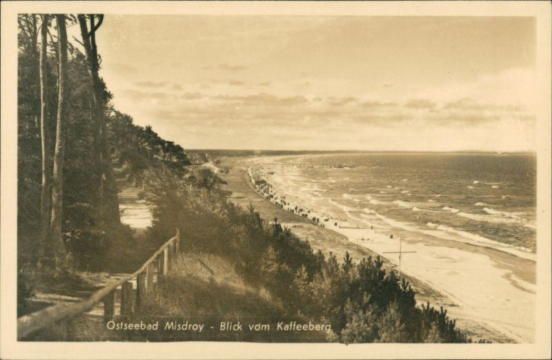 Postcard Misdroy Międzyzdroje Strand - Blick vom Kaffeeberg 1932