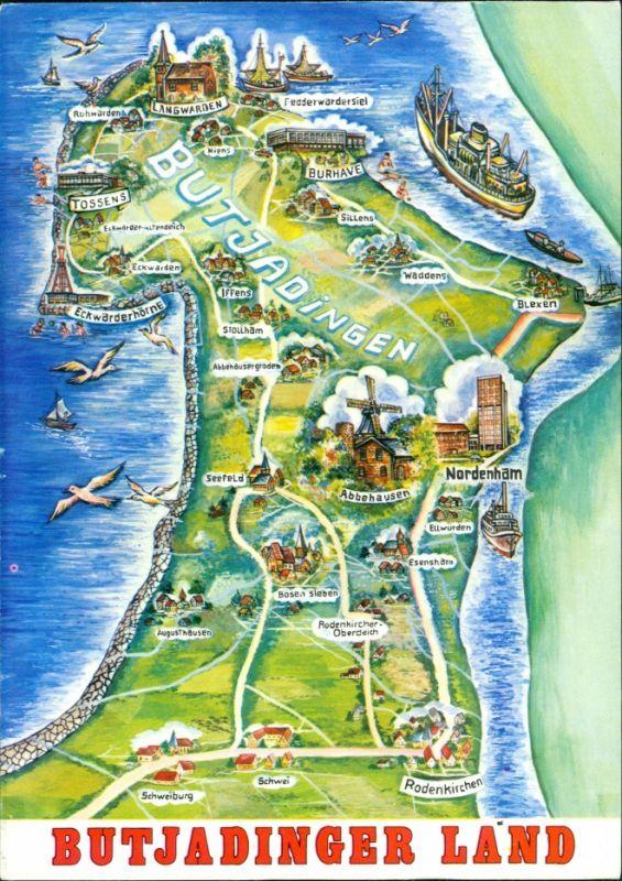 butjadingen karte Ansichtskarte Butjadingen Butjadingen Land   Karte 1986 Nr. 142581
