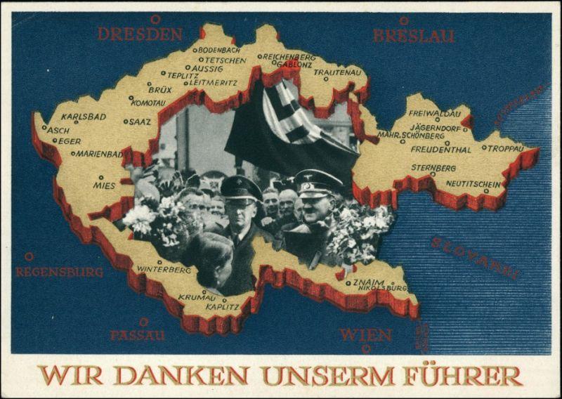 .Tschechien Propaganda: Wir danken unserem Führer, Sudentengebiete 1939
