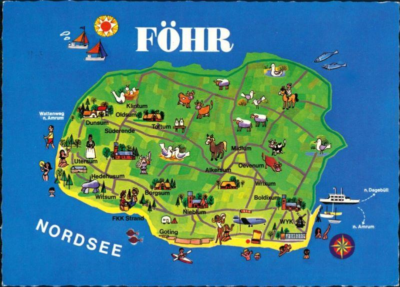 insel föhr karte Ansichtskarte Wyk (Föhr) Karte von der Insel 1993 Nr. 142107