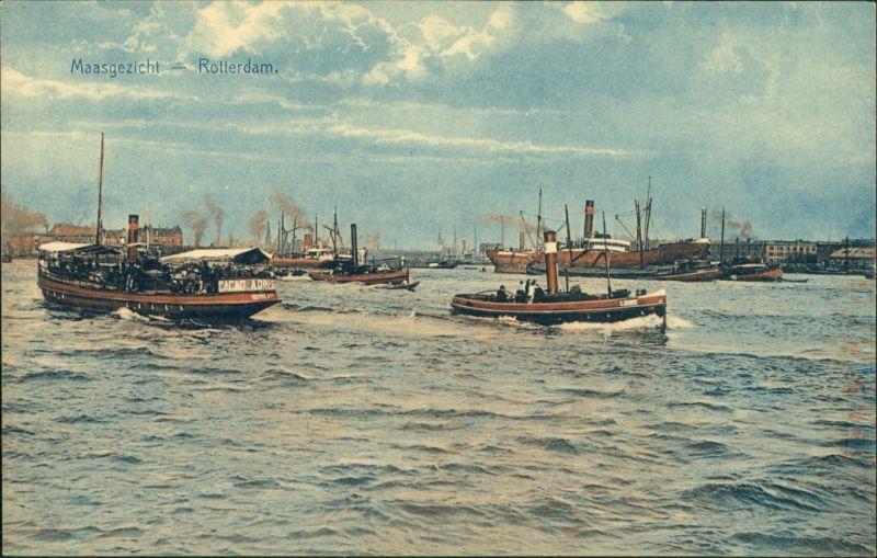 Postkaart Rotterdam Rotterdam Maasgezicht/Hafen, Dampfer 1909