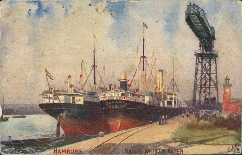 Ansichtskarte Hamburg Sampfer im Kaiser Wilhelm Hafen Künstlerkarte 1915