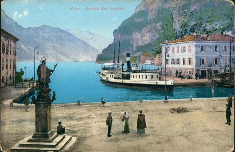 Cartoline Riva del Garda Hafen ankunft des Dampfers 1913