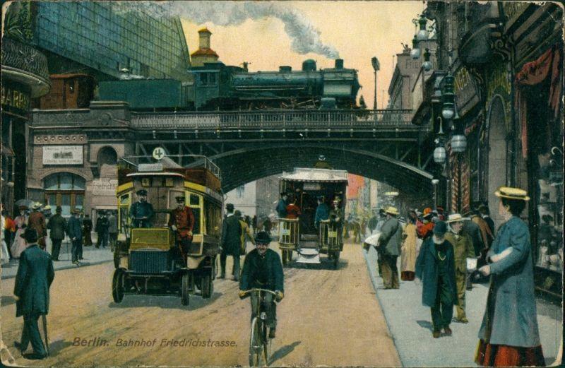 Ansichtskarte Mitte-Berlin Bahnhof Friedrichstraße Dampflok, Bus 1909