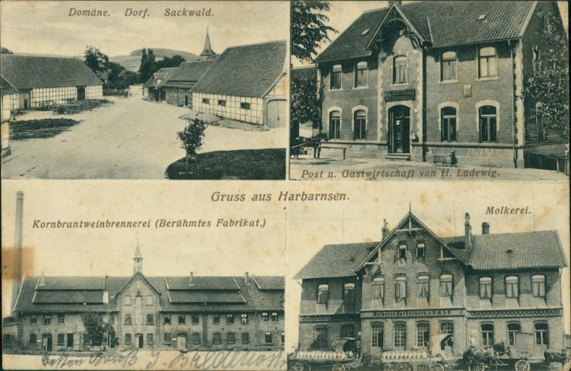 Ansichtskarte Harbarnsen-Lamspringe 3 Bild: Domäne, Brennerei, Molkerei 1911