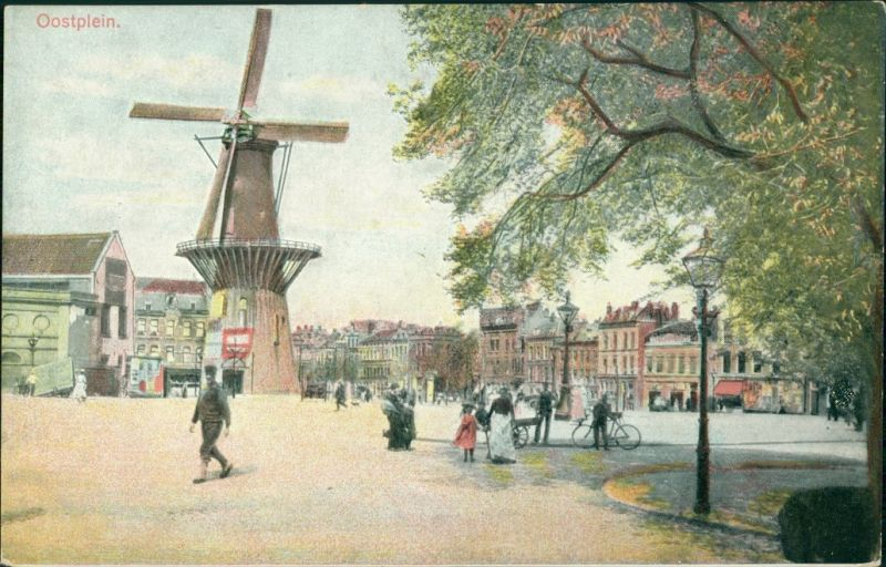 Postkaart Rotterdam Rotterdam Oostplein - Windmühle 1922