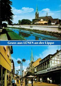 Ansichtskarte Lünen (Westfalen) Lippe, Kirche, Einkaufspassage 1995