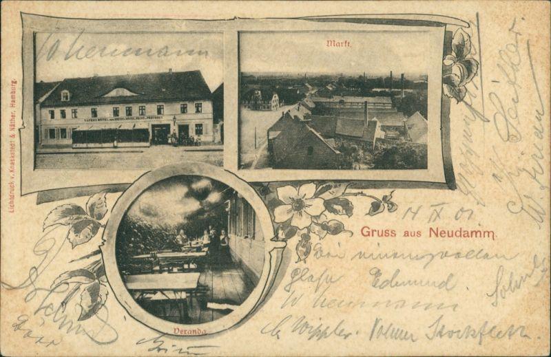 Postcard Neudamm (Neumark) Dębno Gaststätte Veranda Myśliborski  Soldin)   1901