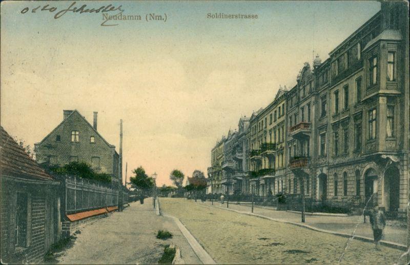 Postcard Neudamm (Neumark) Dębno Soldiner Straße Myśliborski (Kr  Soldin)  1910