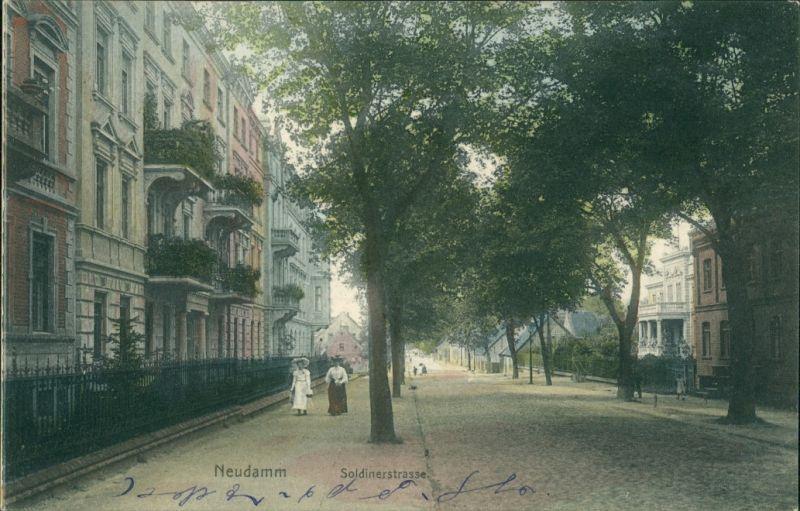 Postcard Neudamm (Neumark) Dębno Soldiner Straße Myśliborski (Kr Soldin)  1911