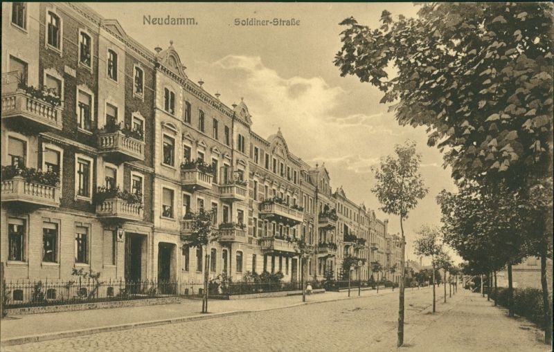 Postcard Neudamm (Neumark) Dębno Soldiner Straße Myśliborski (Kr Soldin)  1918