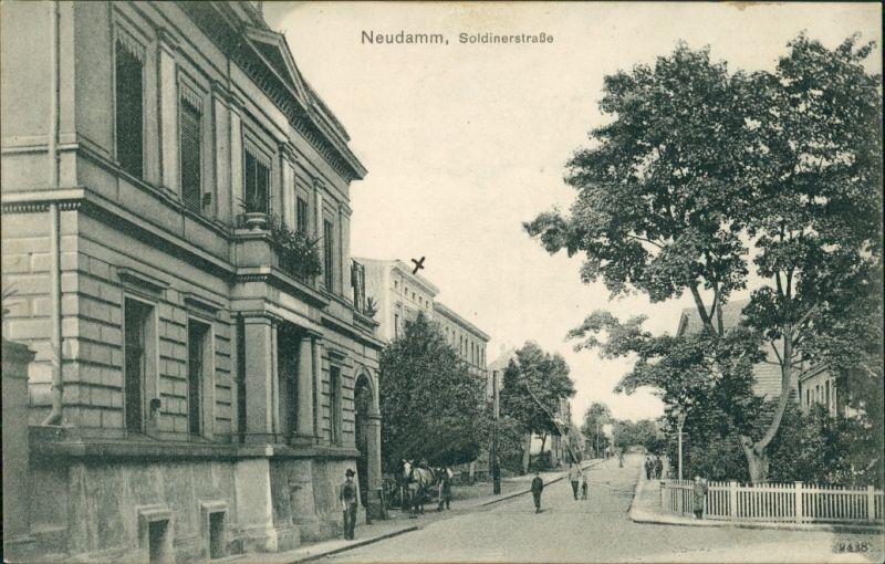 Postcard Neudamm (Neumark) Dębno Soldiner Straße Myśliborski  Kr. Soldin)  1908