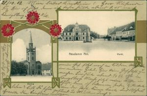 Postcard Neudamm Neumark) Dębno Kirche, Markt Myśliborski Soldin  1903 Goldrand