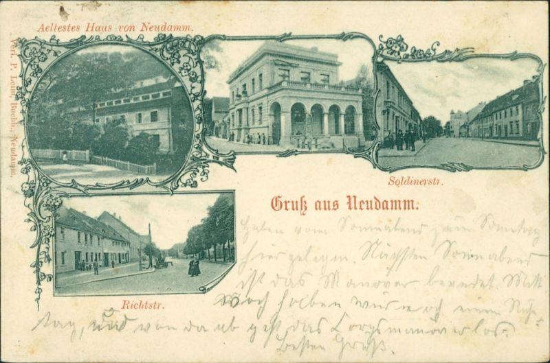 Postcard Neudamm (Neumark) Dębno   Richtstraße Myśliborski (Kreis Soldin)  1899