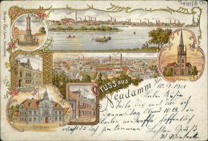 Litho AK Neudamm (Neumark) Dębno Kriegerdenkmal Post Myśliborski  Soldin 1901