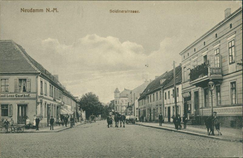 Postcard Neudamm (Neumark) Dębno Soldiner StraßeMyśliborski (Kr Soldin)   1910