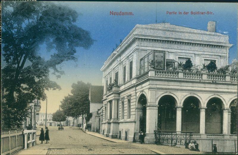 Postcard Neudamm (Neumark) Dębno   Soldiner Straße Myślibórz (Soldin)  1914