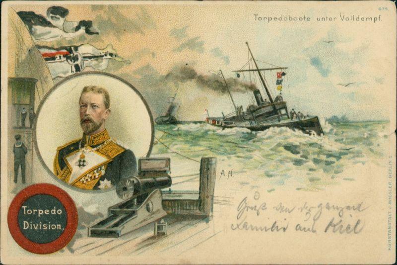 Ansichtskarte Litho AK Litho AK: Torpedoboote unter Volldampf Patriotika 1909