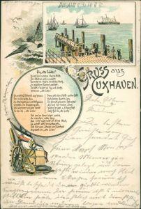 Ansichtskarte Litho AK Cuxhaven 2 Bild Litho: Alte Liebe 1909