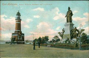 Holtenau-Kiel Holtenå Leuchtturm und Kaiser Wilhelm Denkmal 1909