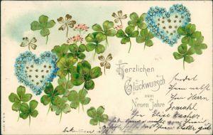 Ansichtskarte  Neujahr - Präge AK - Kleeblätter - Herzen 1902 Goldrand