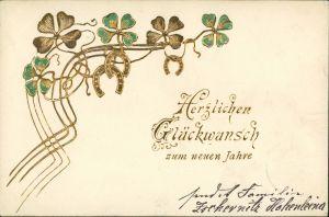 Neujahr - Jugenstil - Kleeblatt, Hufeisen - Präge-Gold 1902 Goldrand