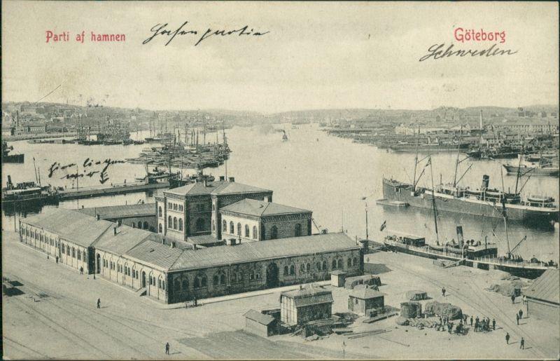 Postcard Göteborg Göteborg Parti af hamnen 1909