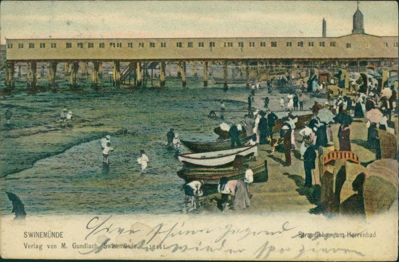 Postcard Swinemünde Świnoujście Seebrücke und Herrenbad 1909