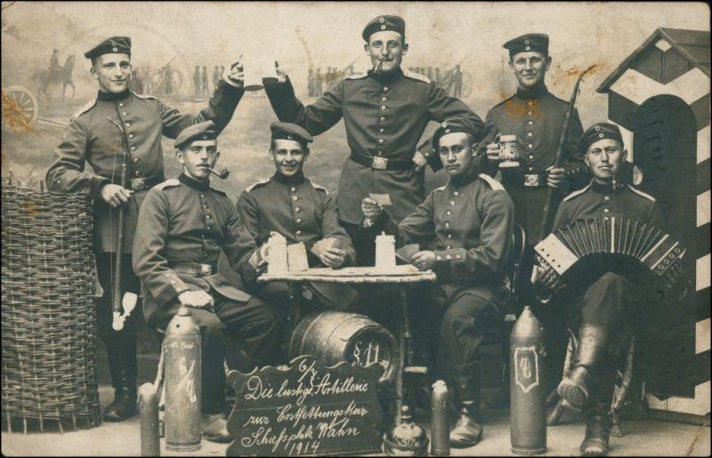Porz-Köln Atelierfoto Die Lustige Artillerie Schießplatz Wahn 1914