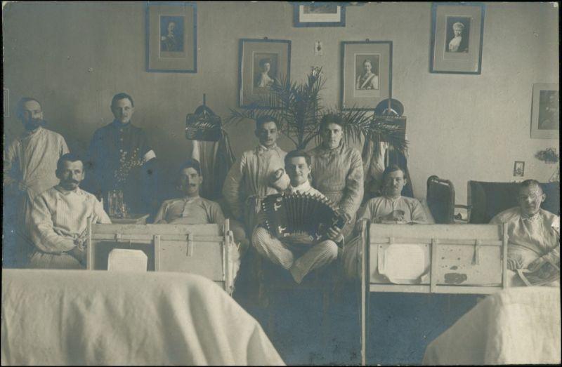 Postcard Neisse (Neiße) Nysa Soldaten im Lazarett WK1 1914