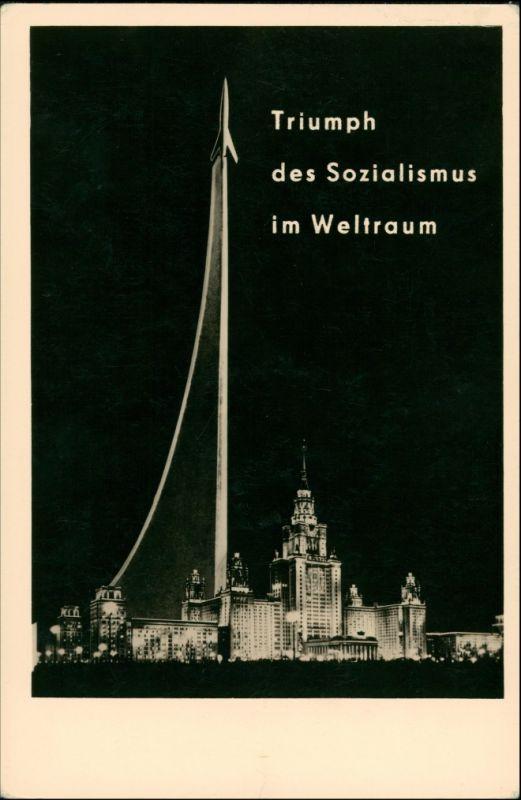 Ansichtskarte Triumph des Sozialismus im Weltraum, Raumfahrt Moskau 1961
