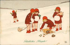 Ansichtskarte  Künstlerkarte Neujahr Mädchen Paul Ebner 1910
