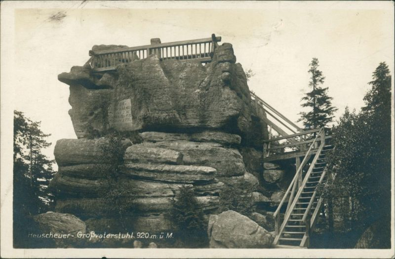 Postcard Karlsberg Karłów Heuscheuer-Großvaterstuhl 1930