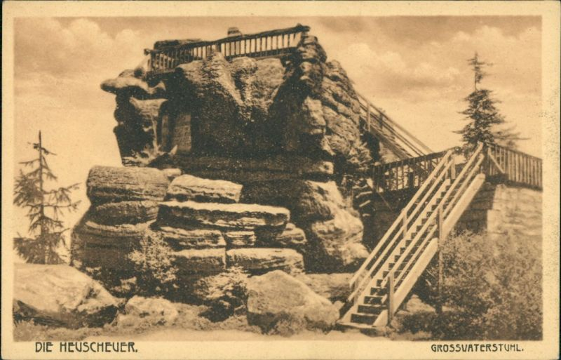 Postcard Karlsberg Karłów Heuscheuer Gebirge - Großvaterstuhl 1925