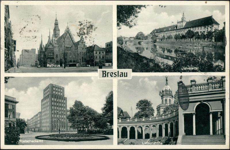 Breslau Wrocław 4 Bild: Rathaus, Liebichshöhe, Postcheckamt 1936