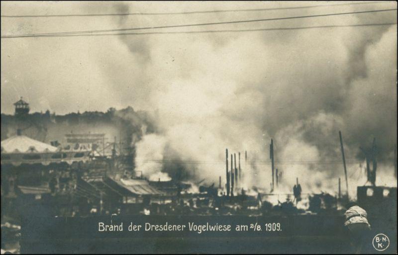 Foto Dresden Brand der Dresdener Vogelwiesen 1909 Privatfoto